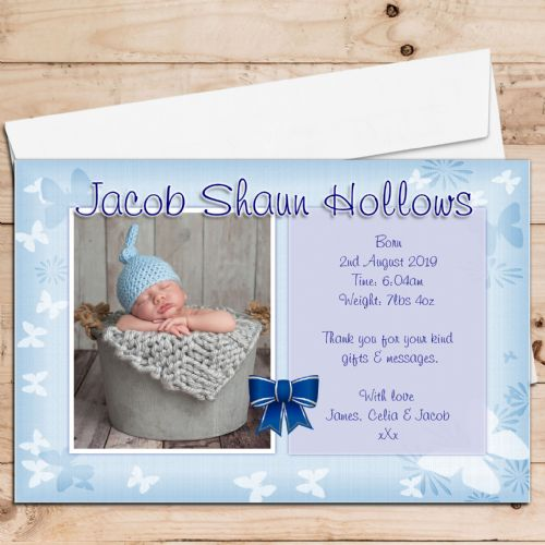 10 Personalised Baby Boy Birth Announcement Thank You PHOTO Cards N75